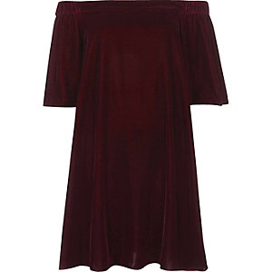 Purple velvet bardot swing dress