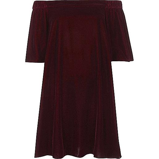 Purple velvet bardot swing dress