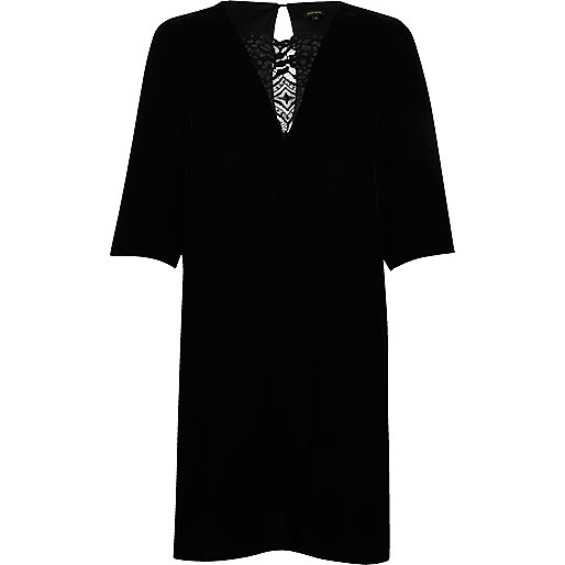 Black velvet lace panel swing dress