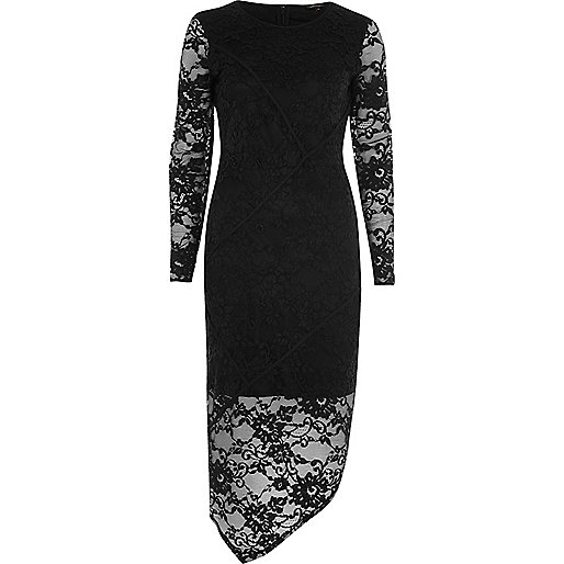 Black lace asymmetric bodycon dress