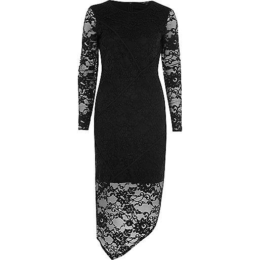 Black lace asymmetric bodycon dress