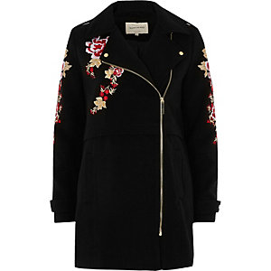 Black floral embroidered biker coat