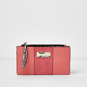 Pink panel snake print fold out purse