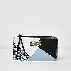 Blue colour block print purse