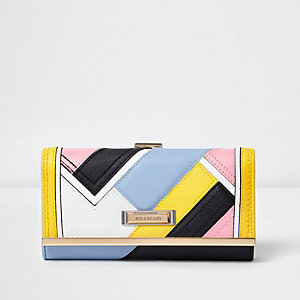 Yellow colour block cliptop purse