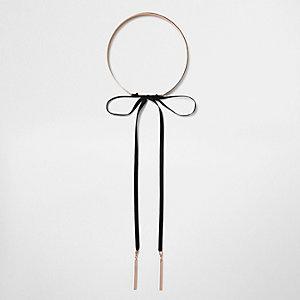 Collier ras-de-cou doré rose avec nœud sur le devant