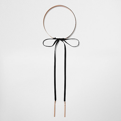 Rose gold tone bow front choker necklace
