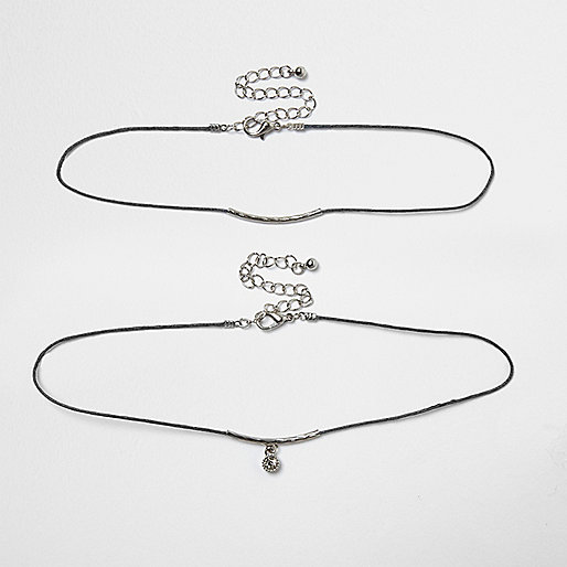 Grey 2 row drop choker