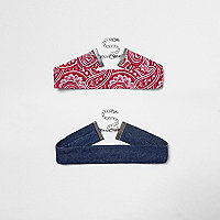Blue denim and red paisley choker pack