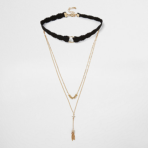 Gold tone layered choker necklace