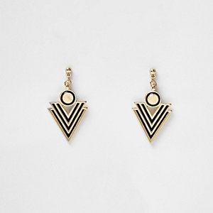 Gold tone stripe spike stud earrings