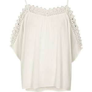 Cream crochet cold shoulder top