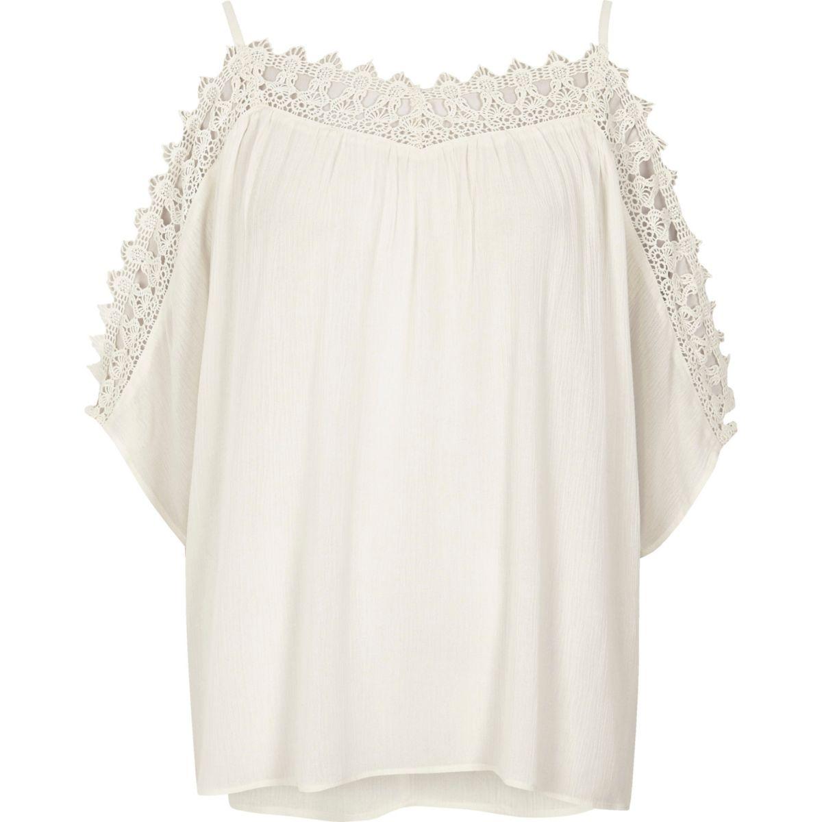 Cream crochet cold shoulder top