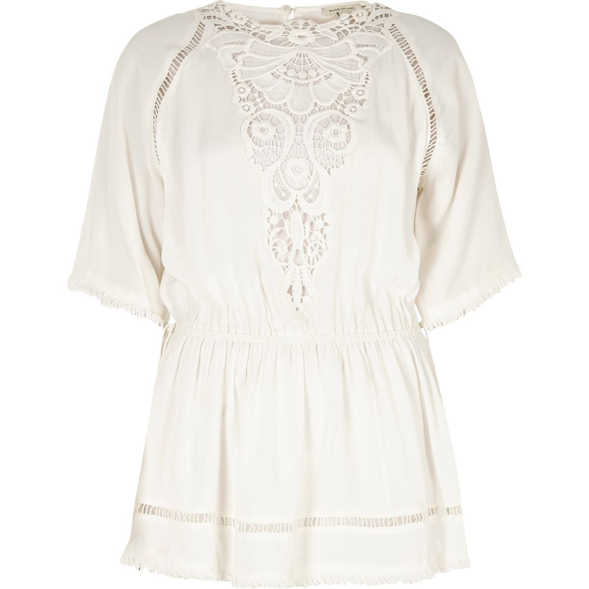 Cream embroidered smock top