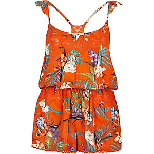 Orange tropical print playsuit