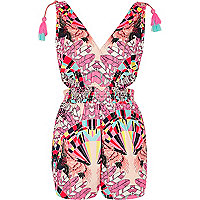 Pink feather print tassel cut out romper