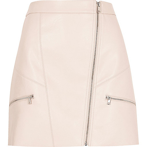 Pink leather look zip mini skirt