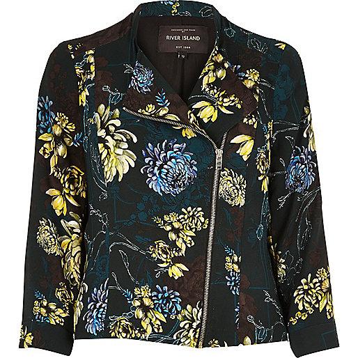 Black floral print biker jacket