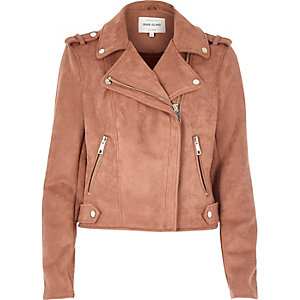 Dusty pink faux suede biker jacket