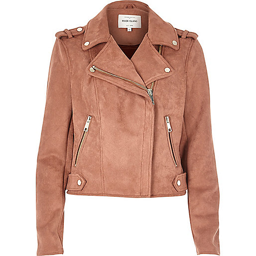 Dusty pink faux suede scuba biker jacket