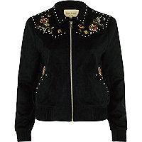 Schwarze Jacke aus Wildleder mit Blumenmuster