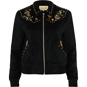 Black floral suede look trucker jacket