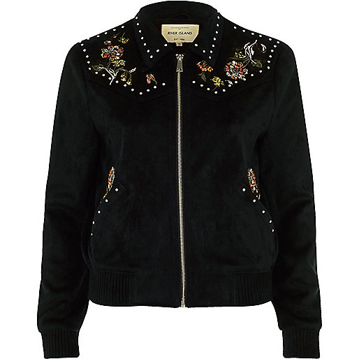 Black floral suede look trucker jacket