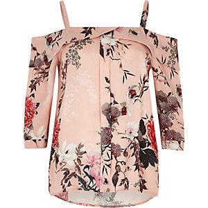 Pink print placket cold shoulder top