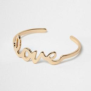 Gold tone 'Love' cuff bracelet