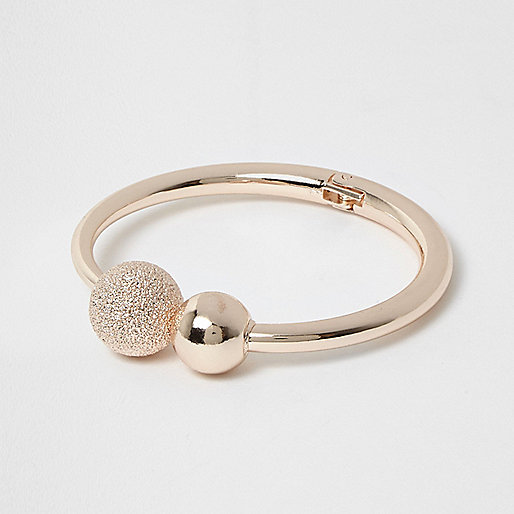 Rose gold tone ball cuff bracelet