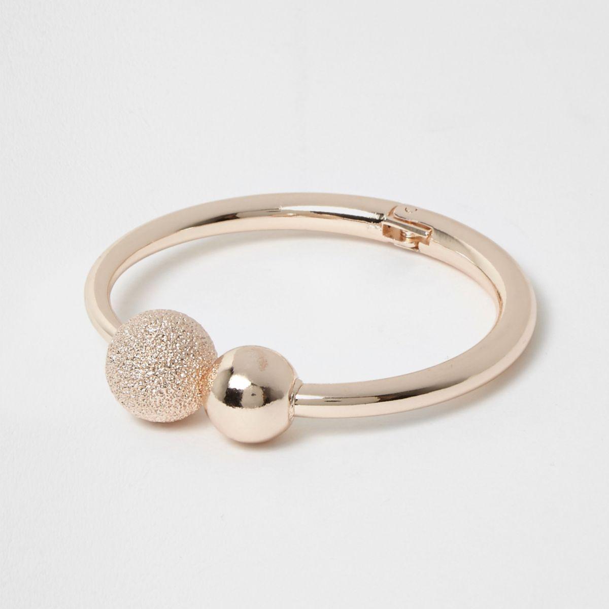 Rose gold tone rhinestone ball cuff bracelet