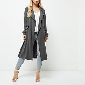 Petite grey belted duster trench coat
