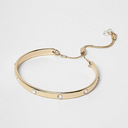 Gold tone crystal lariat bracelet