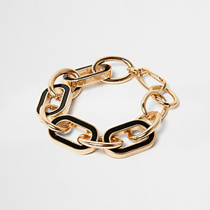Gold tone black chain link bracelet