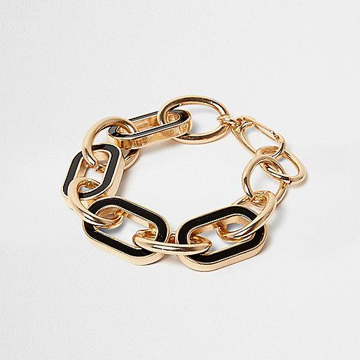Gold tone black chain link bracelet