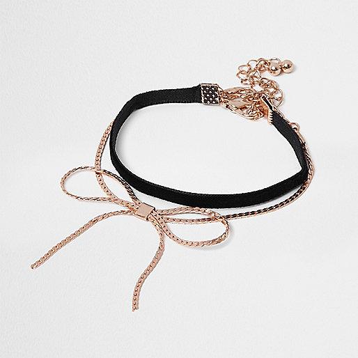 Gold tone and black velvet bow bracelet
