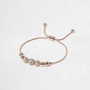 Rose gold tone embellished thread bracelet