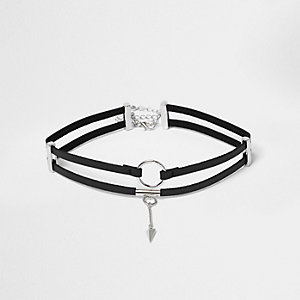 Black two row circle choker