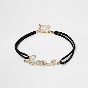 Black string 'Love' pendant choker