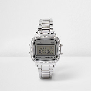 Silver tone gem encrusted digital watch