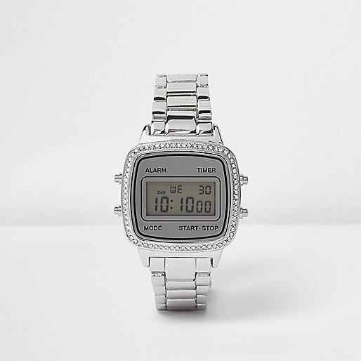 Silver tone gem encrusted digital watch