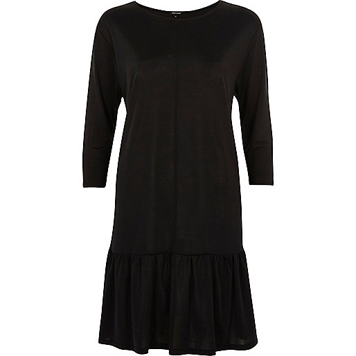 Black frill drop hem smock dress