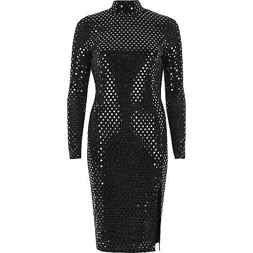 Metallic black turtleneck midi dress