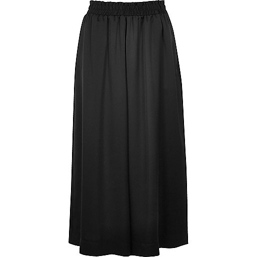 Black soft wide leg culottes