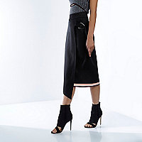 RI Studio black wrap jersey midi skirt