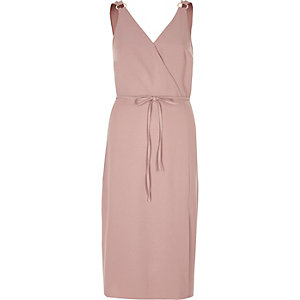 Dusty pink tie waist midi dress