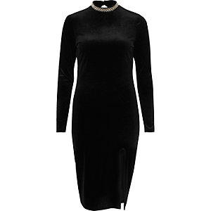 Black velvet thigh split embellished dress