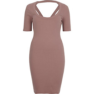 Pink strappy back bodycon dress