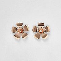 Rose gold tone large flower earrings