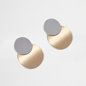 Metallic circle drop earrings